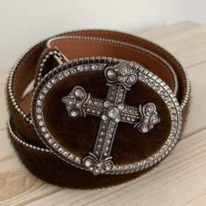 Genuine Leather Western Rodeo Belt with Cross